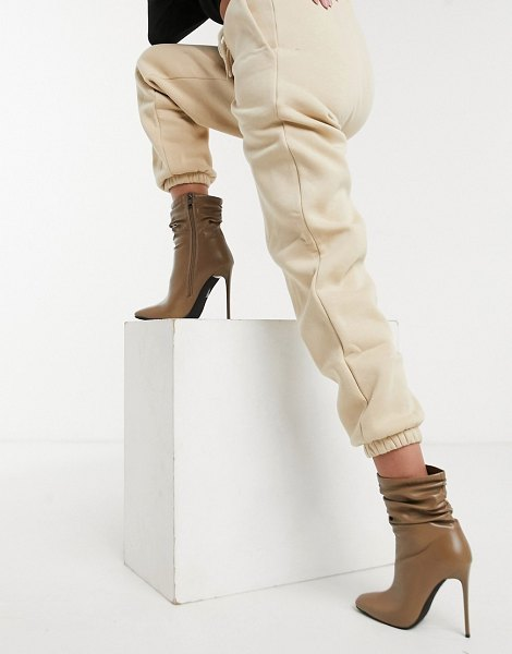 SIMMI Shoes simmi london olivia heeled ankle boots with slouch detail in beige in beige