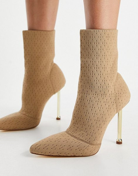 SIMMI Shoes simmi london shae sock boots with gold heel in beige in beige
