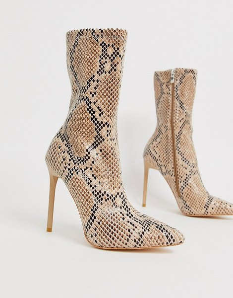SIMMI Shoes simmi london tiana snake effect stiletto boots-beige in beige