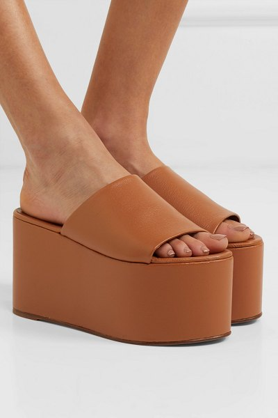 SIMON MILLER blackout textured-leather platform sandals in tan