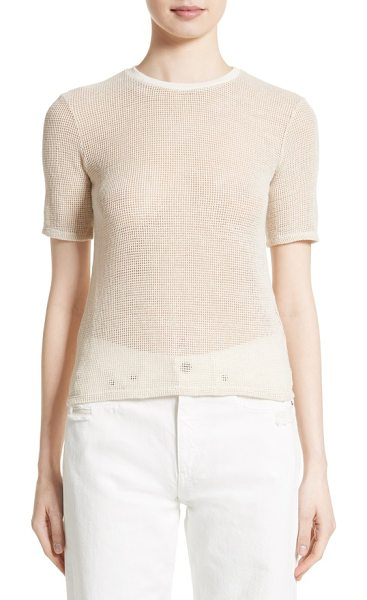SIMON MILLER jade mesh tee in natural - An essential crewneck tee gets an edgy upgrade in sheer,...