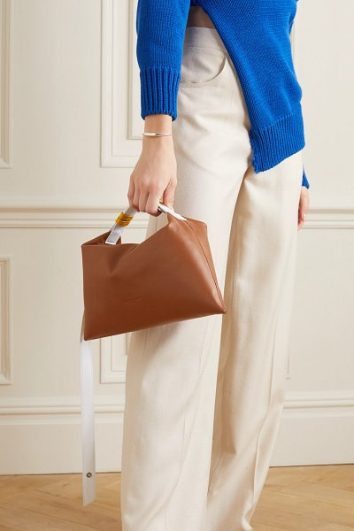 SIMON MILLER puffin two-tone leather shoulder bag in tan