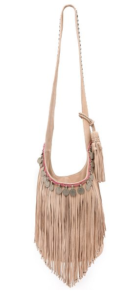 SIMONE CAMILLE Studded bucket bag with fringe in ecru - Antiqued coins and shaggy fringe bring vintage edge to...