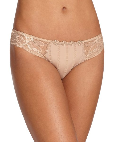 Simone Perele amour lace-trim bikini in nude - Lace side panels elevate this textured microfiber style,...