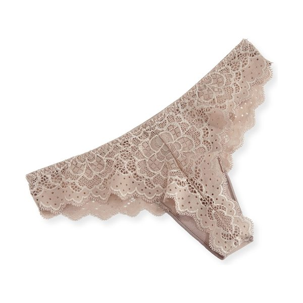 """Simone Perele Caresse Lace Mesh Thong in sand - Simone Perele """"Caresse"""" mesh thong. Low rise; sits at..."""