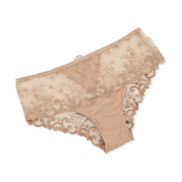 Simone Perele Delice Floral-Embroidered Boyshorts in nude