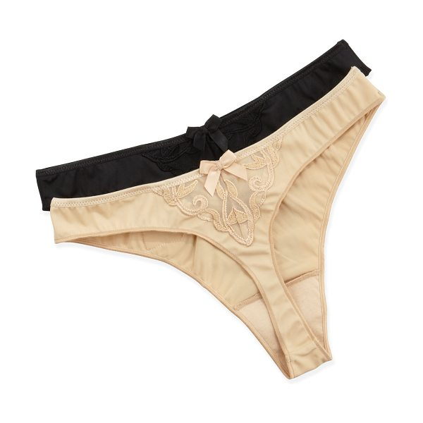 Simone Perele Andora stretch knit thong in nude - Stretch knit Simone Perele Andora thong. Guipure detail...