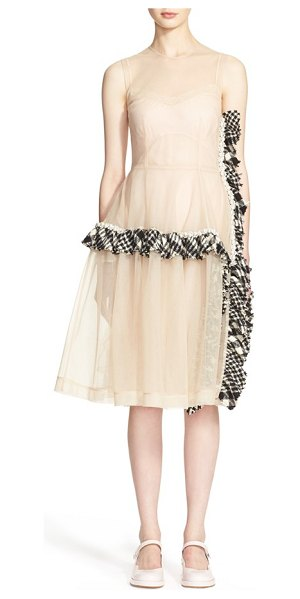 Simone Rocha a-line tulle dress with tweed trim in nude black - Tactile tweed frills are beautifully curved along the...