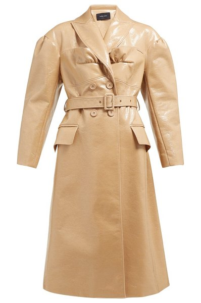 Simone Rocha double breasted laminated wool blend coat in camel