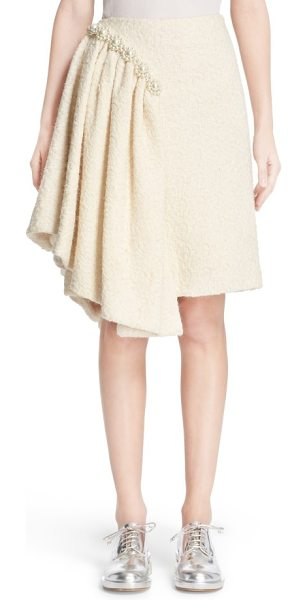 Simone Rocha embellished sparkle tweed skirt in cream - A beautifully draped side flounce brings asymmetrical...