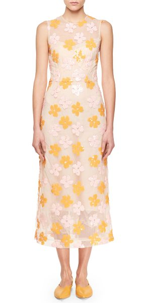 Simone Rocha Floral-Sequined Midi Dress in pink/orange - Simone Rocha midi dress with floral-shaped sequins. High...