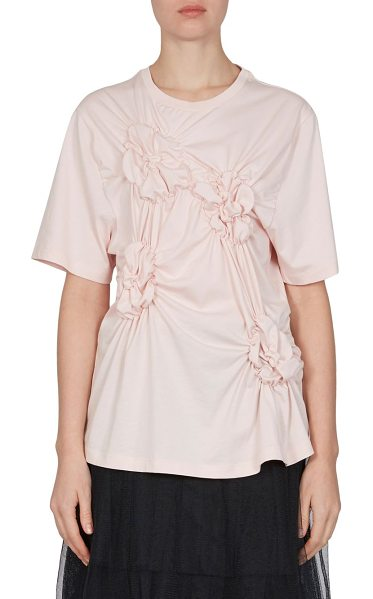 Simone Rocha floral smocked cotton tee in pink - Cotton tee highlighted with floral smocked details....
