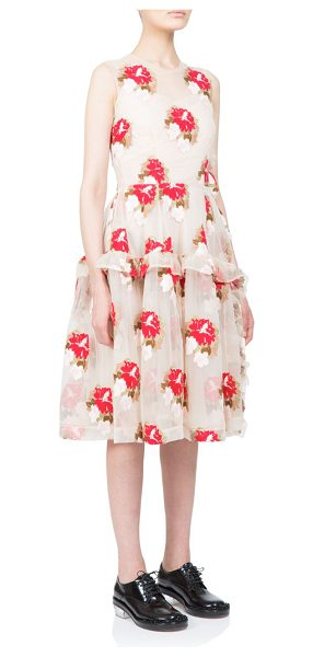 Simone Rocha Floral tulle ruffle dress in natural-multi - Asymmetrical ruffle panels enliven this airy tulle...