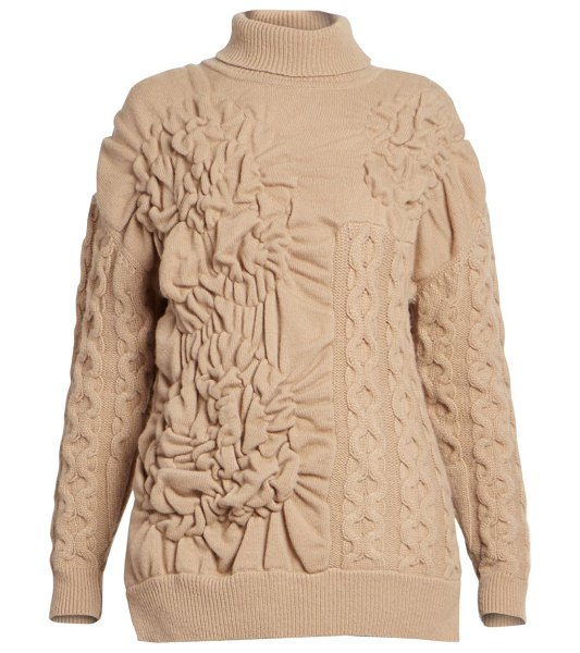 Simone Rocha patchwork knit oversized sweater in camel