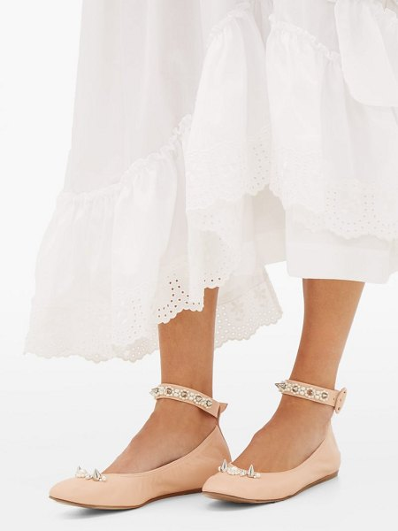 Simone Rocha pearl-embellished leather flats in nude