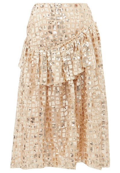 Simone Rocha sequinned ruffled tulle midi skirt in gold