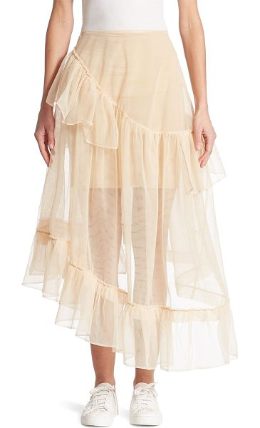 Simone Rocha three-tier tulle skirt in nude - Feminine ruffles flounce ever so softly on this tiered...