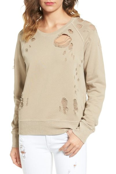 Sincerely Jules destroyed cotton sweatshirt in taupe - Thorough shredding punctuates a comfy cotton pullover...