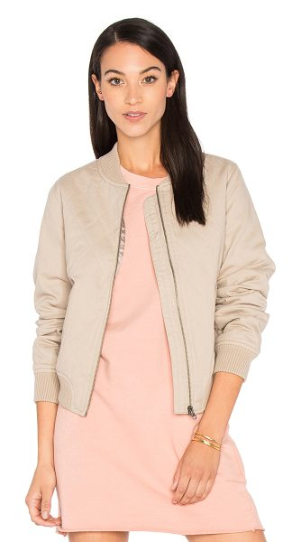 Sincerely Jules Girl Bomber in taupe - Self: 100% cottonLining & Padding: 100% poly. Front zip...