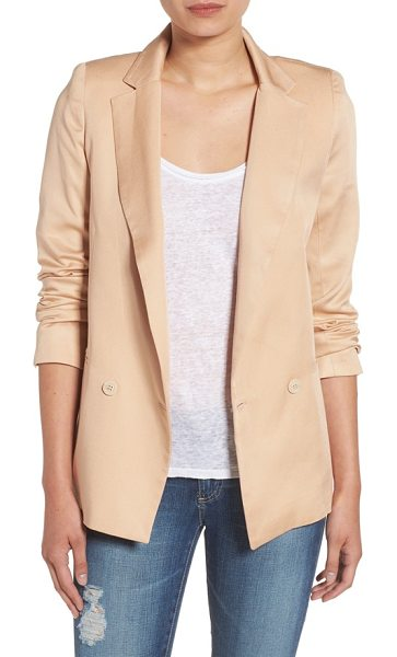 Sincerely Jules 'riley' notch collar blazer in taupe - A single-button blazer with a crisp notched collar is...
