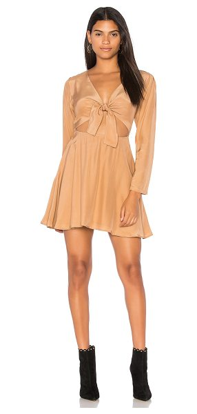 SIR the label Elsa Long Sleeve Dress in tan - Silk blend. Dry clean only. Fully lined. Cut-out front...