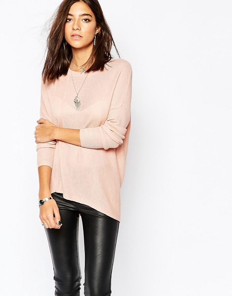Sisley Oversized ribbed sweater in pink - Sweater by Sisley Semi-sheer ribbed knit Round neckline...