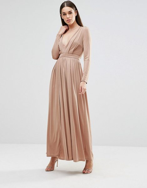 Sistaglam Long Sleeve Slinky Maxi Dress With Front Split in beige - Maxi dress by Sistaglam, Slinky stretch fabric,...