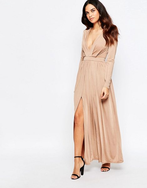 Sistaglam Skylar Wrap Front Maxi Dress With Thigh Split in beige - Maxi dress by Sistaglam, Silky-feel fabric, Plunge...