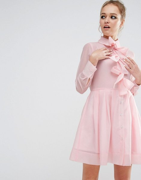 Sister Jane Sister Jane Bow Front Shirt Dress in pink - Dress by sister jane, Lightweight crepe, Point collar,...