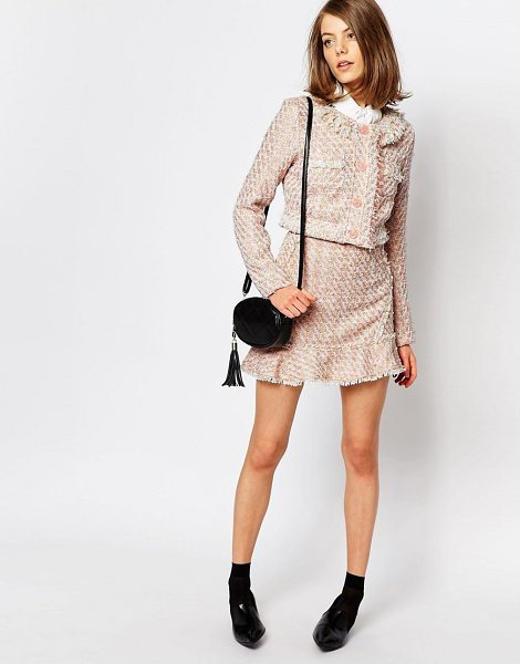 Sister Jane Sister Jane Pink Lemonade Tweed Skirt Co-Ord With Frill in pink - Skirt by sister jane, Tweed fabric, Textured finish,...