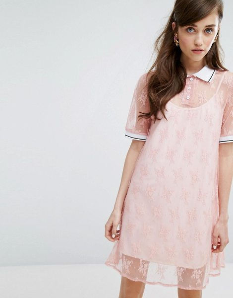 Sister Jane Sister Jane Turtleneck T-Shirt Dress In Lace With Slip in pink