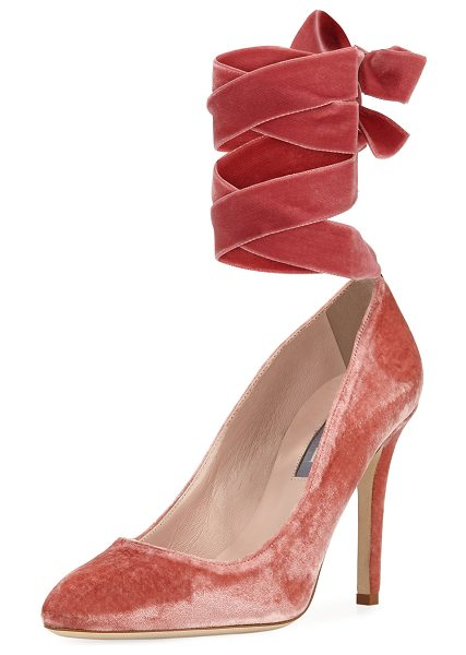 SJP by Sarah Jessica Parker Ania Velvet Pump with Removable Self-Tie Ribbon in pink - ONLYATNM Only Here. Only Ours. Exclusively for You. SJP...
