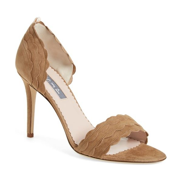 SJP by Sarah Jessica Parker bobbie sandal in tan suede - Sweet scalloping lends playful, feminine appeal to a...