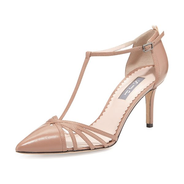 "SJP by Sarah Jessica Parker Carrie Leather T-Strap 70mm Pump in camel - SJP by Sarah Jessica Parker napa leather pump. 3""..."