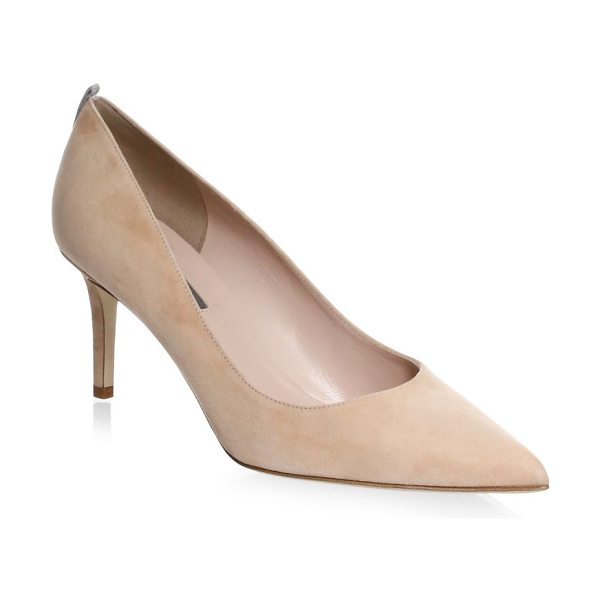 SJP by Sarah Jessica Parker fawn point toe suede pumps in nude - A contrast stripe elevates these urbane suede pumps...