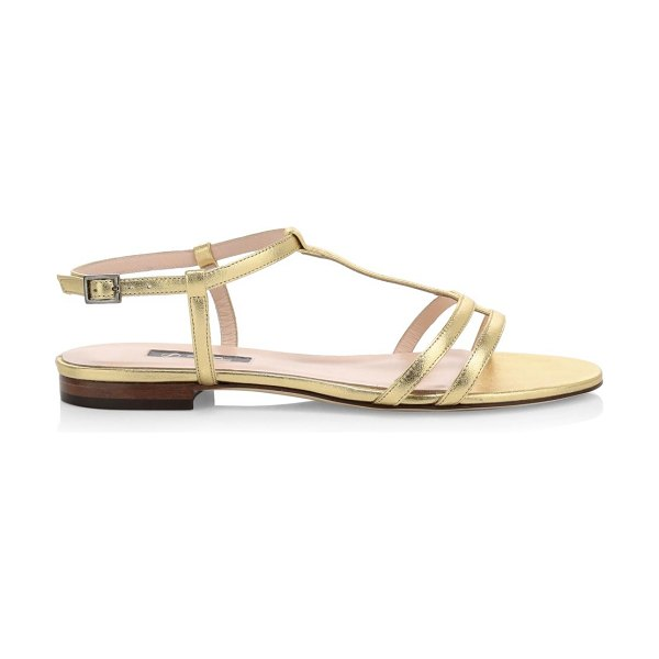 SJP by Sarah Jessica Parker honoree flat metallic leather sandals in gold