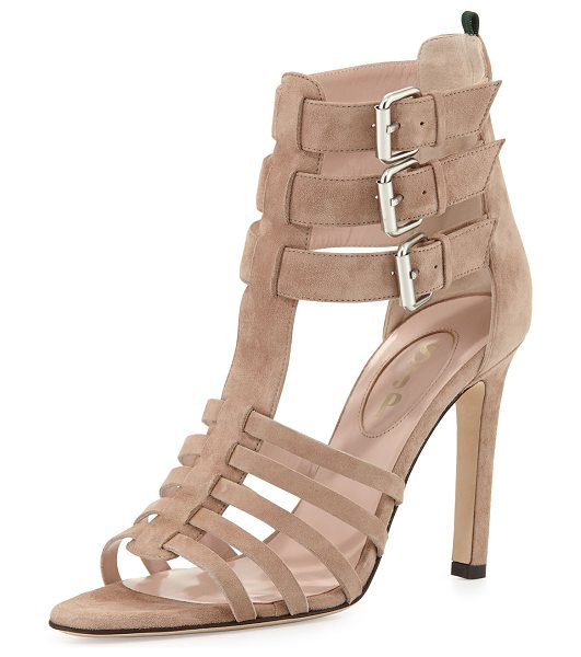 "SJP by Sarah Jessica Parker Lola strappy suede sandal in beige - SJP by Sarah Jessica Parker suede sandal. 4"" stiletto..."