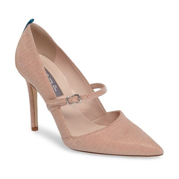 SJP by Sarah Jessica Parker nirvana mary jane pump in pink lame - A low mary-jane strap and a pointy d'Orsay toe ground a...