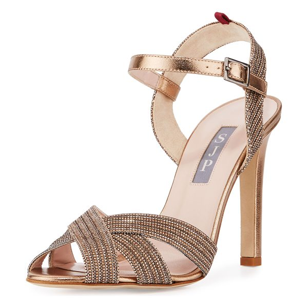 "SJP by Sarah Jessica Parker Sheridan Shimmery Strappy Sandal in tout/gold - SJP by Sarah Jessica Parker shimmery fabric sandal. 4""..."