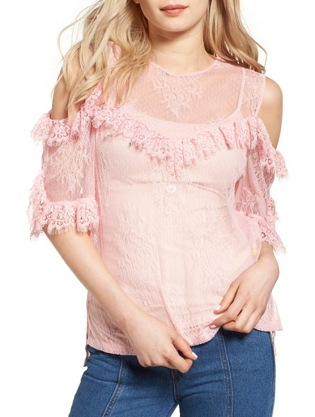 SJYP frilled lace cold shoulder blouse in pink - Made from sheer, delicate floral lace in fresh petal...