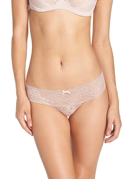 Skarlett Blue 'obsessed' lace thong in cashmere - A comfortable, everyday thong made from stretchy floral...