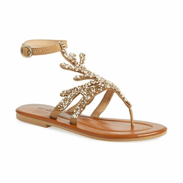 Skemo java sandal in camel - Meticulous beading and crystal accents highlight the...