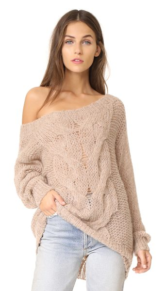 SKIN roselyn alpaca sweater in sandstone - Open-knit lends an airy drape to this soft alpaca...