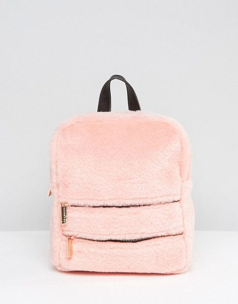 SKINNYDIP Blush Faux Fur Double Zip Backpack in pink - Backpack by Skinnydip, Faux-fur outer, Adjustable...