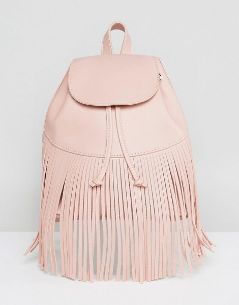Skinnydip Fringe Detail Backpack in pink