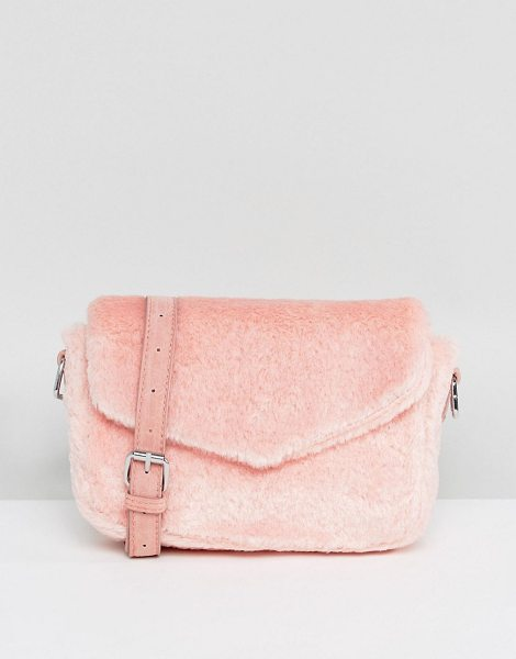 SKINNYDIP Pink Fluffy Cross Body Bag - Cart by Skinnydip, Soft-touch fluffy outer, Adjustable...
