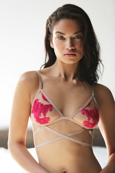 SKIVVIES by For Love & Lemons Orchid bondage bralette in nude / pink