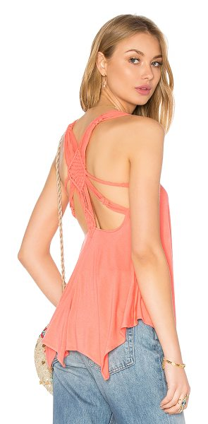 Sky Areagan Top in peach - 93% rayon 7% spandex. Hand wash cold. Macrame woven...