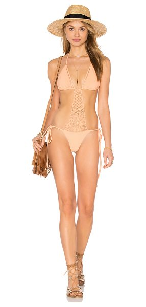 Sky Frigg One Piece in peach - Self: 78% poly 22% elastaneLining: 90% nylon 10% lycra....