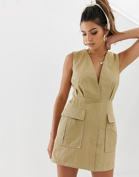 Skylar Rose utility mini dress with plunge front in taupe